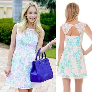 Lilly Pulitzer Lace Floral Pastel Fit+Flare Dress